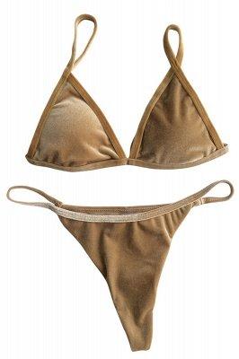 Velvet Triangle Pads High Waist Bikini Swimsuits_2