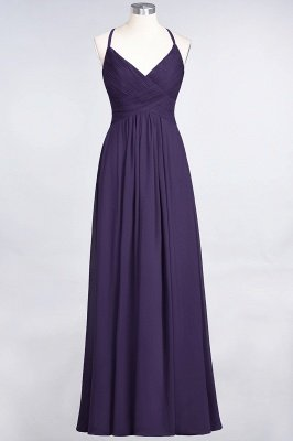 A-Line Spaghetti-Straps V-Neck Sleeveless Floor-Length  Bridesmaid Dress with Ruffles_18