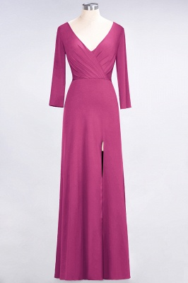 A-Line V-Neck Long-Sleeves Side-Slit Floor-Length Spandex Bridesmaid Dress with Ruffles_8