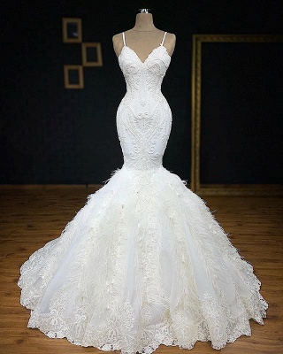 Gorgeous Spaghetti-Straps Fur Appliques Sexy Mermaid Wedding Dress