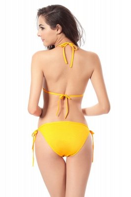 Simple Halter Triangle Pads Two-piece Bikini Sets_29