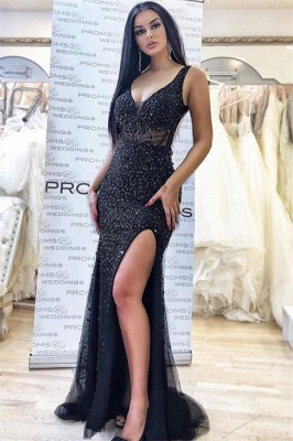 Appliques Straps Side Slit Black Sexy Mermaid Prom Dresses | Evening Dresses in Black_1