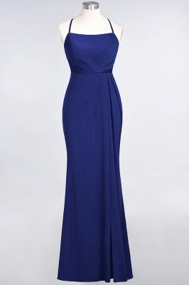 Mermaid Spaghetti-Straps Sleeveless Floor-Length spandex Lace Bridesmaid Dress with Ruffle_23