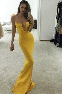 Yellow Spaghetti-Straps V-Neck Sexy Mermaid Prom Dresses_1