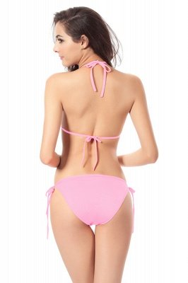 Simple Halter Triangle Pads Two-piece Bikini Sets_19