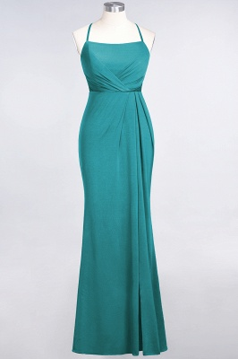 Mermaid Spaghetti-Straps Sleeveless Floor-Length spandex Lace Bridesmaid Dress with Ruffle_28