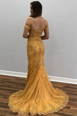 Yellow Off-The-Shoulder Appliques  Sexy Mermaid Prom Dresses_2