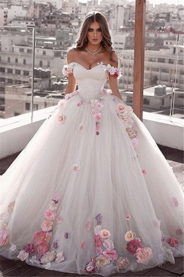Glamorous Off-The-Shoulder Ball-Gown Wedding Dresses with Flower_1