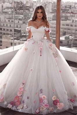 Glamorous Off-The-Shoulder Ball-Gown Wedding Dresses with Flower