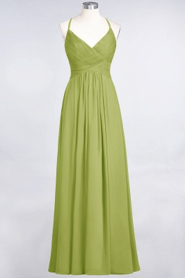 A-Line Spaghetti-Straps V-Neck Sleeveless Floor-Length  Bridesmaid Dress with Ruffles_32