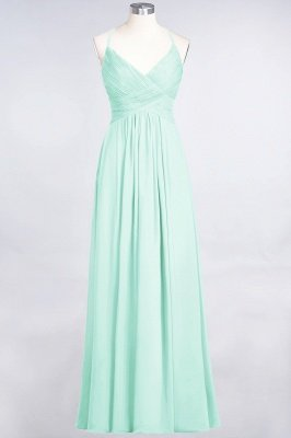 A-Line Spaghetti-Straps V-Neck Sleeveless Floor-Length  Bridesmaid Dress with Ruffles_34