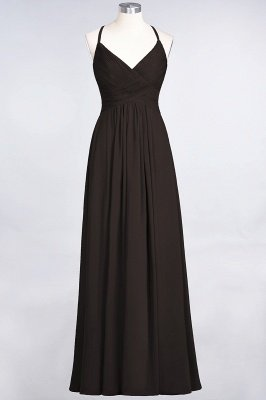 A-Line Spaghetti-Straps V-Neck Sleeveless Floor-Length  Bridesmaid Dress with Ruffles_11