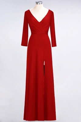 A-Line V-Neck Long-Sleeves Side-Slit Floor-Length Spandex Bridesmaid Dress with Ruffles_7