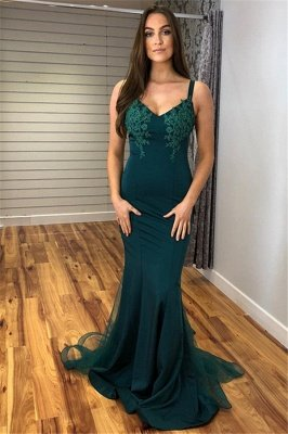 Glamorous Straps Appliques V-Neck Sexy Mermaid Prom Dresses