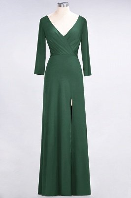 A-Line V-Neck Long-Sleeves Side-Slit Floor-Length Spandex Bridesmaid Dress with Ruffles_27