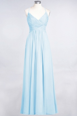 A-Line Spaghetti-Straps V-Neck Sleeveless Floor-Length  Bridesmaid Dress with Ruffles_22