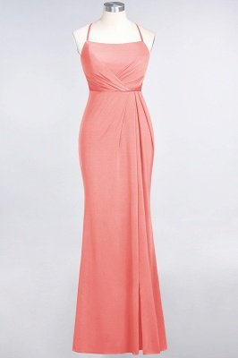 Mermaid Spaghetti-Straps Sleeveless Floor-Length spandex Lace Bridesmaid Dress with Ruffle_6