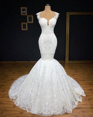 Glamorous Straps Appliques Backless Sexy Mermaid Bridal Gown
