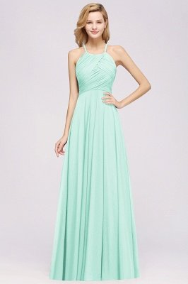 A-Line  Halter Ruffles Floor-Length Bridesmaid Dress_34