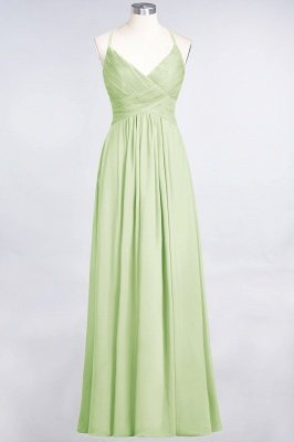 A-Line Spaghetti-Straps V-Neck Sleeveless Floor-Length  Bridesmaid Dress with Ruffles_33