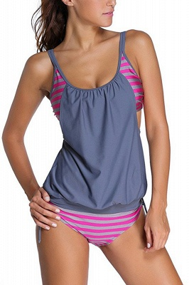 Streaks One-piece Side-cut Scoop Spaghetti Swimsuits_4
