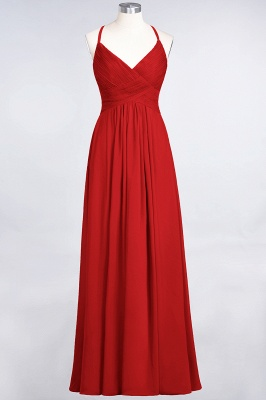 A-Line Spaghetti-Straps V-Neck Sleeveless Floor-Length  Bridesmaid Dress with Ruffles_8