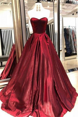 Glamorous Burgundy Sweetheart A-Line Prom Dresses_2