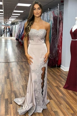 Gorgeous Strapless Appliques Side Slit Sexy Mermaid Prom Dresses