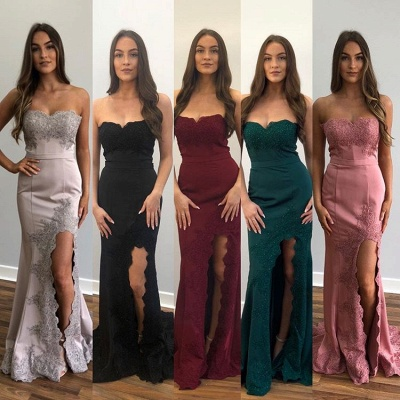 Gorgeous Strapless Appliques Side Slit Sexy Mermaid Prom Dresses_3
