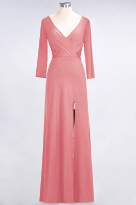 A-Line V-Neck Long-Sleeves Side-Slit Floor-Length Spandex Bridesmaid Dress with Ruffles_6