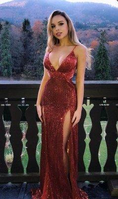 Glamorous Sequins Spaghetti-Straps V-Neck Side Slit Sexy Mermaid Prom Dresses_1