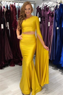 New Arrival Yellow Two-Pieces One-Shoulder Sexy Mermaid Prom Dress
