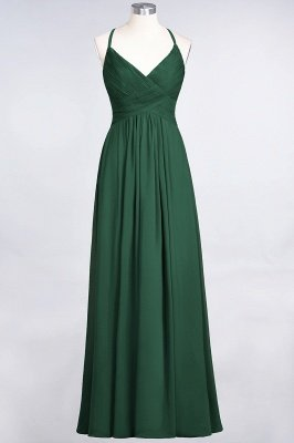 A-Line Spaghetti-Straps V-Neck Sleeveless Floor-Length  Bridesmaid Dress with Ruffles_30