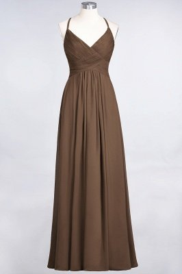 A-Line Spaghetti-Straps V-Neck Sleeveless Floor-Length  Bridesmaid Dress with Ruffles_12