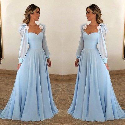 Blue Flower Appliques Fur A-Line Prom Dresses_2