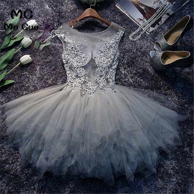 Cute Puffy Homecoming Dresses Lace Appliques Illusion  Cocktail Dress_3