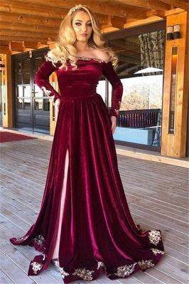 Elegant Off-The-Shoulder Burgundy Velvet Evening Dresses_1