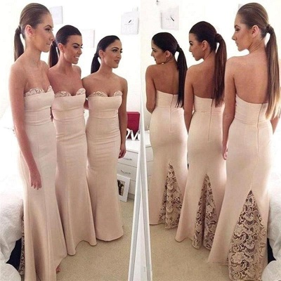 Mermaid Elegant Long Sweetheart Lace Bridesmaid Dress_3