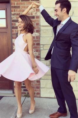 Simple Pink Homecoming Dresses Halter Open Back Short Graduation Dress_2