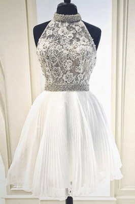 High-Neck Lace Sleeveless Homecoming Dress_1