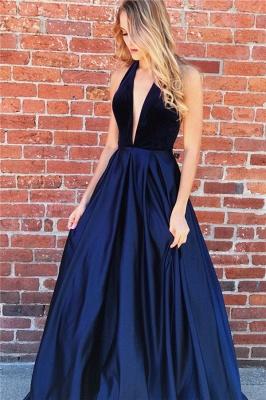 Sexy A-line Deep V-neck Navy Blue Prom Dresses_1