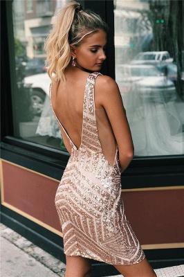Newly Straps V-Neck Sequins Short Home-Coming Dresses_2