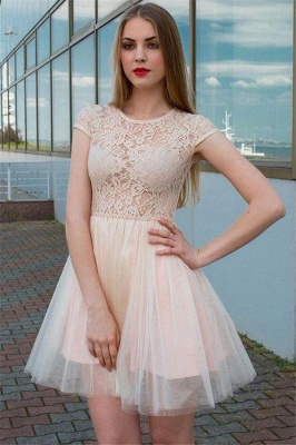 Long-Sleeves Tulle Lace V-Neck Homecoming Dress_3