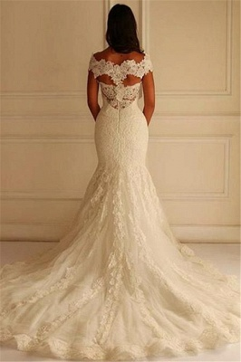 Glamorous Off-The-Shoulder Applique  Sexy Mermaid Lace Wedding Dresses_3