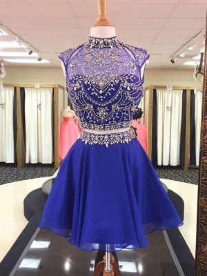 Illusion Two-Pieces High Neck Beading Homecoming Dress_1
