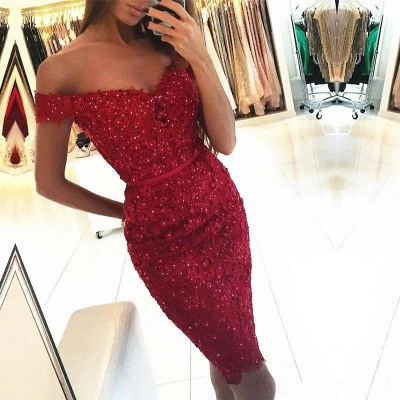 2019 Red Sheath Homecoming Dresses Off-the-Shoulder Appliques Beadings Graduation Dresses_3