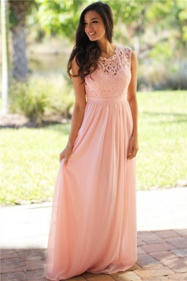 Elegant Sheath Crew Sleeveless Lace Top Chiffon Bridesmaid Dress_1