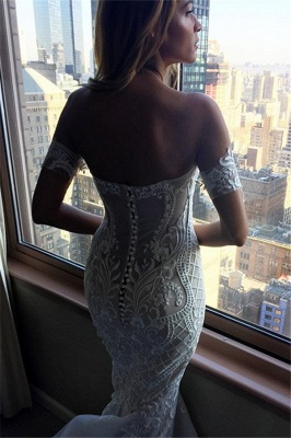 Sexy Zipper Off-the-shoulder Embroidery Mermaid Wedding Dress_4