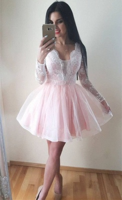 Long-Sleeves Tulle Lace V-Neck Homecoming Dress_2
