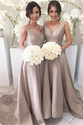 Sheer-Tulle V-neck Open-Back Simple Stretch-Satin Sleeveless Bridesmaid Dress_2